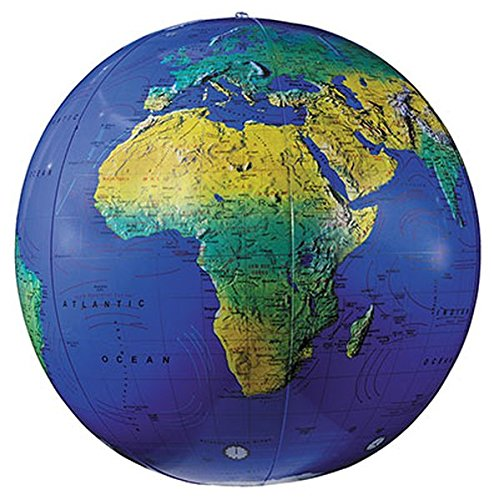 16 Inch Blue Globe - Replogle Globes Inflatable Topographical Globe, Dark Blue Ocean, 16-Inch Diameter