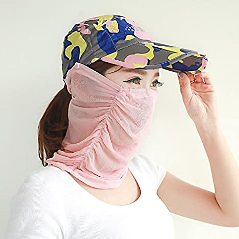 Hyun times Sunshade men and women summer sunscreen foldable outdoor sports leisure wild cover mask UV sun hat ( Color : Camouflage pink (The Middle Season 1 2 3 4)