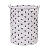VuHom Large Laundry Hamper (Available 17.7'' and 13.7''), Drawstring Waterproof Round Cotton Linen Collapsible Storage Basket Star Deisgn (Grey Star)
