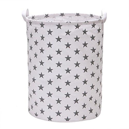 Vagon Laundry Hamper Bucket Cylindric Burlap Canvas Storage Basket with Stylish Stars Design (Grey)
