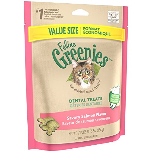 Pink Vitamins (FELINE GREENIES Dental Treats For Cats Savory Salmon Flavor 5.5 oz. With Natural Ingredients Plus Vitamins, Minerals, And Other Nutrients)