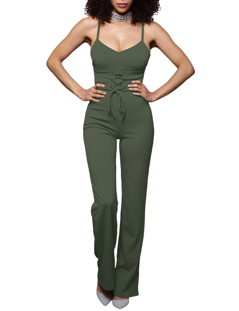 Xiang Ru Women Cami Strap Solid V Neck Loose Jumpsuit Army Green S