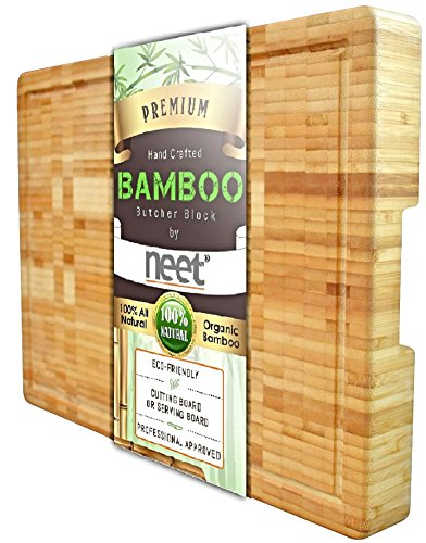 Extra Large Bamboo Butcher Chopping Block End Grain Ultra Thick Heavy & Solid Cutting Board (18