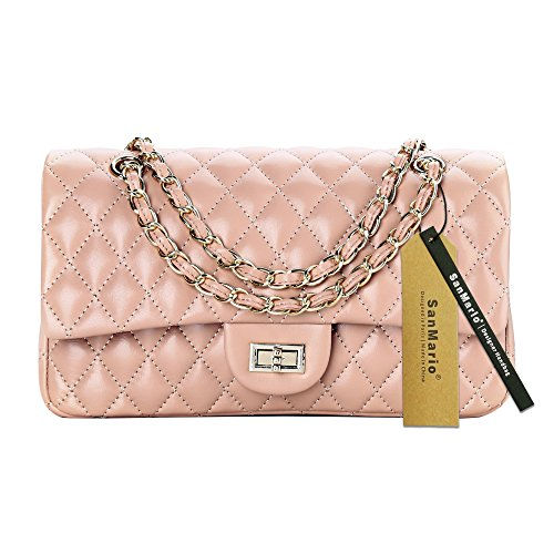 8ad473d524 SanMario Designer Handbags Lambskin Classic Quilted Chain Double Flap Women s  Crossbody Shoulder Bag (25.5cm