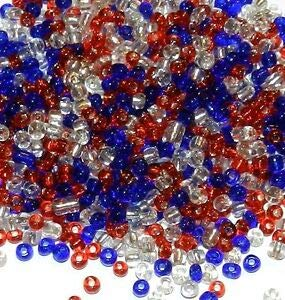 Steven_store SB19 Patriotic Red, White & Blue USA Silver Lined Glass Seed Bead Mix 1-Ounce Making Beading Beaded Necklaces Yoga Bracelets
