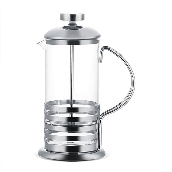 Cafetera, cafetera de vidrio de acero inoxidable Té francés con ...
