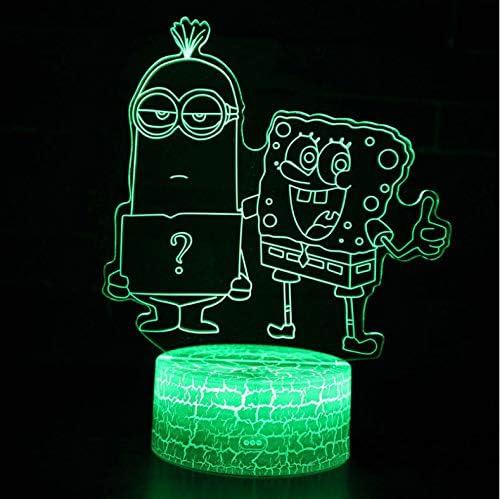 Luanxiaonie Optische Tauschung Erstaunliche Spongebob Und Minions Thema 3d Lampe Led Nachtlicht 7 Farbwechsel Touch Stimmung Lampe Dropshippping Amazon De Kuche Haushalt