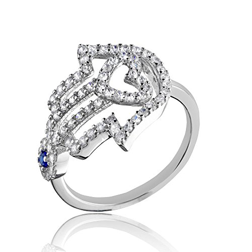 (Princess Kylie Cubic Zirconia Hamsa Hand Evil Eye Designer Ring Rhodium Plated Sterling Silver Size 8)