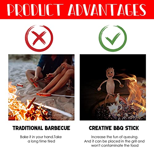 Steel Hot Dog Roasters Stainless Steel Camp Fire Roasting Stick, Funny Women Men Shaped Stainless Steel Roasting Stick,Metal Craft Barbecue Forks for Family Garden Outdoor Campfire Party (A boy)