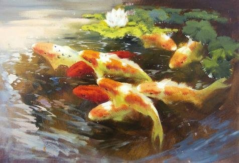 ['Carps In The Pond' Oil Painting, 8x12 Inch / 20x30 Cm ,printed On Perfect Effect Canvas ,this Replica Art DecorativePrints On Canvas Is Perfectly Suitalbe For Laundry Room Gallery Art And Home Decor And] (Costumes Gallery In Stock)