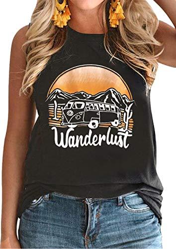 Wanderlust Tank Tops for Womens Letter Print Tee Summer Casual Sleeveless T Shirt Vintage Graphic Vacation Vest Tops (Medium, Dark Grey)