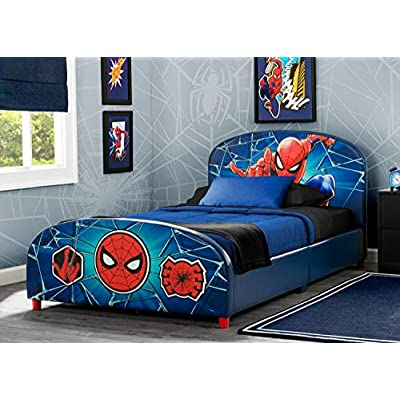 Delta Children Upholstered Twin Bed & 6-Inch Memory Foam Twin Mattress, Marvel Avengers, Marvel Spider-Man: Baby