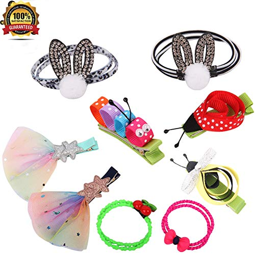 (9 Pack Princess Assorted Hair Clips Tie Accessories Set Rainbow Glitter Leopard Stripe Sparkling tulle Ponytail Holder for Girls Festival Birthday Party Dancing Daily Wearing)