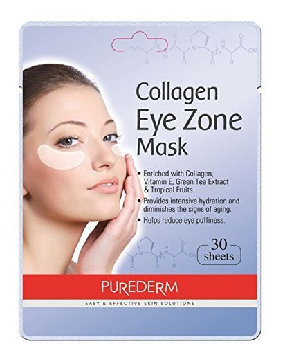 Deluxe Collagen Eye Mask Collagen Pads For Women By Purederm 5 Pack Of 30 Sheets/Natural Eye Patches With Anti-aging and Wrinkle Care Properties/Help Reduce Dark Circles and Puffiness