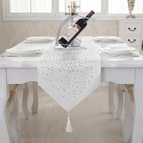 White Silk Tassel (Luxury diamond bright star white damask silk tassel home decorative table runner 80 inch approx)