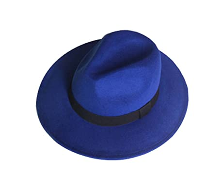 Image Unavailable. Image not available for. Color  PANDA SUPERSTORE  RoyalBlue British Style Hat Woolen The Wide-Brim Billycock e681c0ad56b
