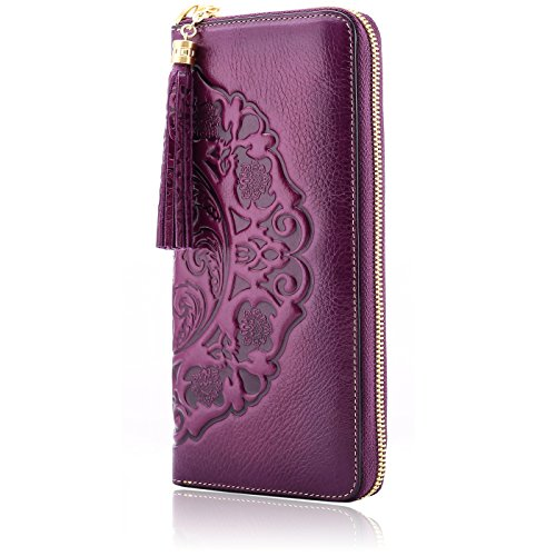 Naisibao Genuine Leather Womens Wallet Handmade Zip Around Embossed Clutch Gift for Her (Violet)
