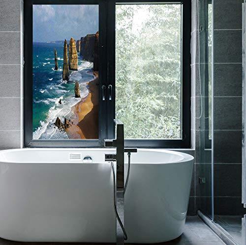Stained Glass Window Film,Coastal Decor,for Bathroom Shower Door Heat Cotrol Anti UV,12 Apostles in Australia Rock Face Lookout by,24''x48''