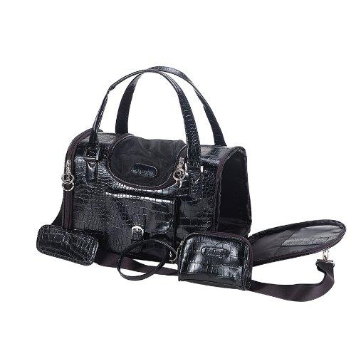 Anima Black Faux Crocodile Travel Bag, 13-Inch by 7-Inch by 9-Inch, Small (Designer Dog Purse)