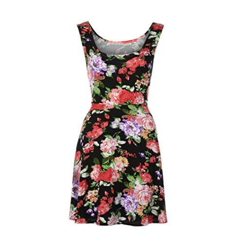 Women Beach Evening Black Short Party Floral Dress Summer Mini BSGSH Sleeveless Cotton HFdHqT