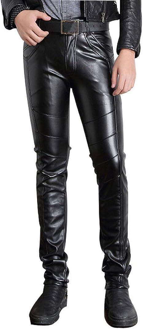 Men/'s Casual faux  Leather Pants Slim Motorcycle Trousers Skinny Pants Black