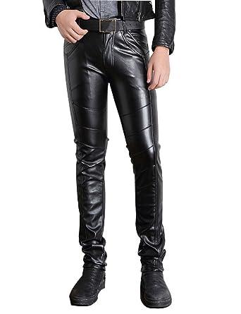 df2d71a757e444 Moonwalk Men's Faux PU Leather Skinny Slim Fit Straight Leg Metallic ...