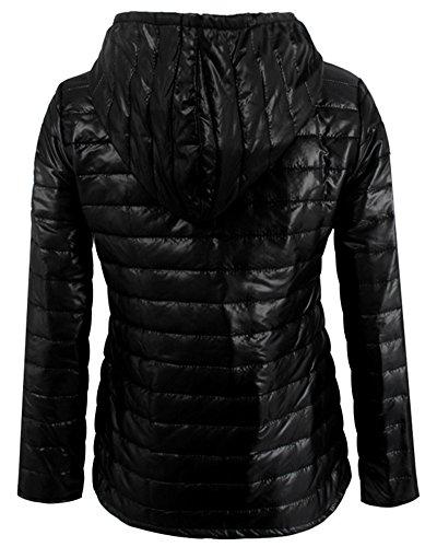 Corta Abrigo Acolchada Capucha Negro Mujer con de Invierno Chaqueta A7wqIx6tz