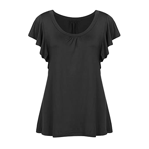 FORUU T Shirts for Women Short Sleeve O Neck Pleated Tops Casual Flowy Tee Tunic (