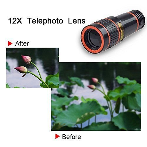 Passion store Smartphone Camera Lens 12X Telescope,Camera Phone Lens with Tripod, Camera Lens Kit +Fish Eye Lens+ Wide Angle Lens+ Macro Lens for iPhone X 8 7 6 Plus and Android by Passion Store (Image #6)