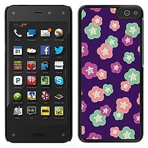 Caucho caso de Shell duro de la cubierta de accesorios de protección BY RAYDREAMMM - Amazon Fire Phone - Patrón floral del trullo Flores de Primavera