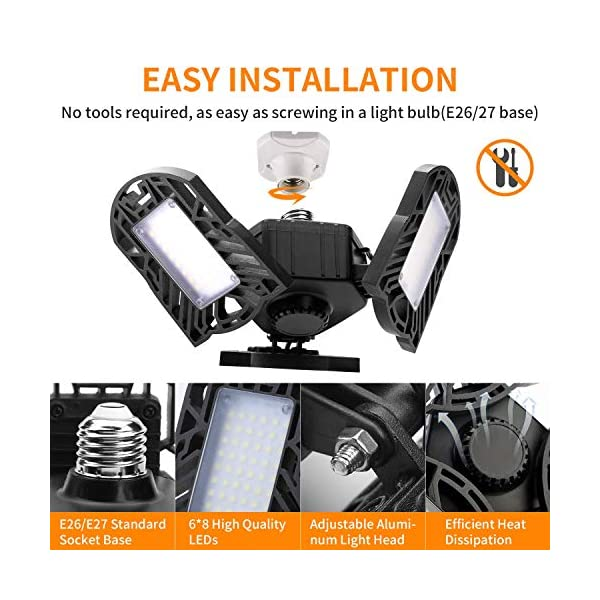 Garage Lights, LED Deformable Garage Light, Ultra-Bright Shop Lightning with 3 Adjustable Panels, Garage Ceiling Light… 3