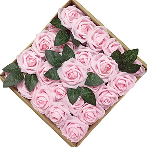 Light Pink Rose - Jing-Rise 50PCS Fake Roses Real Looking Artificial Flowers For DIY Wedding Bouquets Centerpieces Baby Shower Party Home Office Shop Hotel Supermarket Decorations (Light Pink)