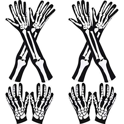 Jovitec 2 Pairs Halloween Long Arm Skeleton Gloves and 2 Pairs Skeleton Short Gloves for Halloween Costume Cosplay Party