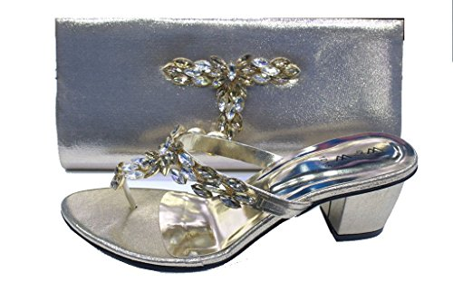 Wear & Walk UK W&W Women Ladies Evening Comfort Slip-On Diamante Sandal Party Medium Block Heel With Matching Bag (SAN1015) Gold AYyD6