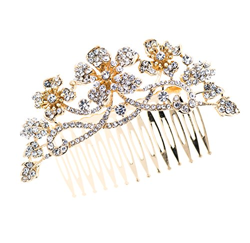 Pin Curl Flapper Red Wig (PROHAIR Gold Crystals Rhinestone Hair Comb Flower HairPins Bridal Wedding Hair Accessories)