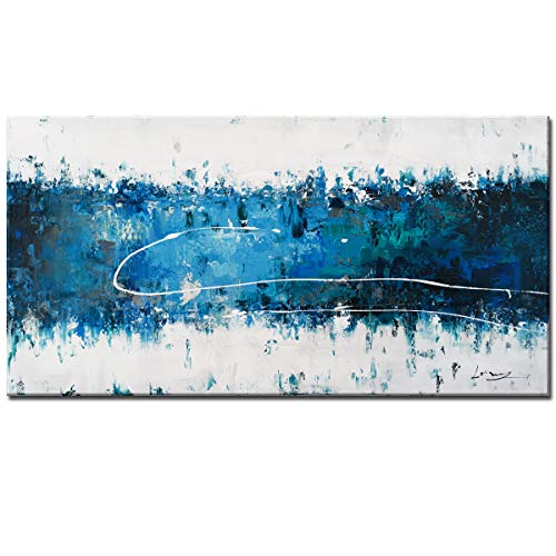 - 100% Hand Painting Oil Paintings Modern Abstract Contemporary Teal Blue & White Seascape Forest Handmade Framed Canvas Art Home Interior Wall Decor Palette Knife Acrylic Painting Hand Drawn Paint