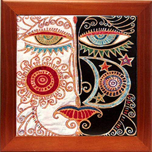 Wood Framed Ceramic Tile Trivet with Abstract Day and Night Face Art Kitchen Decor Housewarming Gift