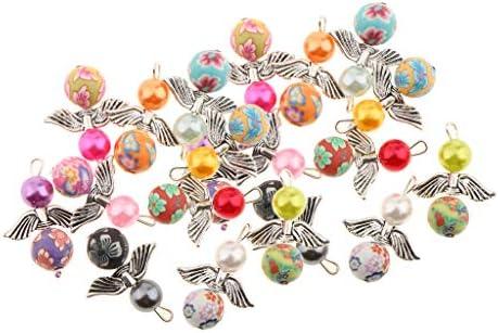 IPOTCH 20 Stücke Acryl Perlen Anhänger mit Schmetterlinge Flügel Perlenengel Charms DIY Basteln Set für Halskette Kinderschmuck Handwerk
