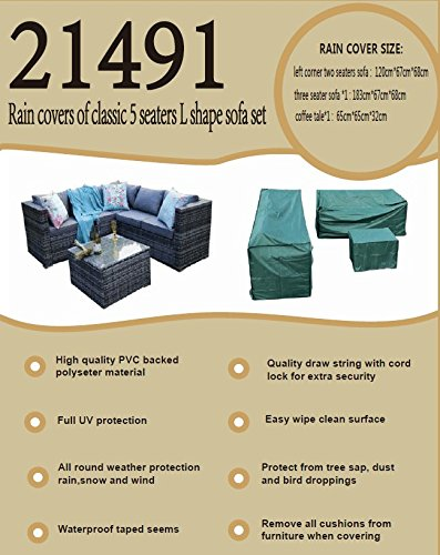YAKOE 5 Seater Rattan Patio Furniture Sofa Set