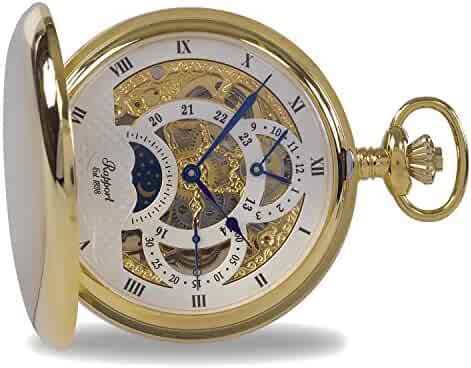 Vintage Pocket Watch with Chain by Rapport - Classic Oxford Hunter Case Pocket Watch with Moon Phase - Gold
