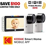 """KODAK Cherish C525 Video Baby Monitor + C125 Free Additional Camera - with Mobile App - 5"""" HD Screen - Hi-res Baby Camera with Remote Tilt, Pan and Zoom Two-Way Audio, Night-Vision, Long Range"""
