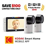 KODAK Cherish C525 Video Baby Monitor + C125 Free Additional Camera - with Mobile App - 5'' HD Screen - Hi-res Baby Camera with Remote Tilt, Pan and Zoom Two-Way Audio, Night-Vision, Long Range