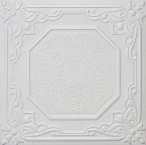 Lizbona R32W 20 x 20 Tin Looking Styrofoam Glue Up White Ceiling Tile