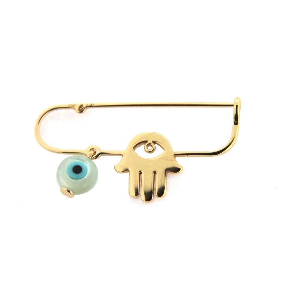 18Kt Yellow Gold Hand and Eye Safety Pin