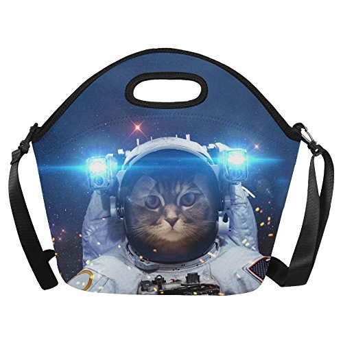 Large Insulated Lunch Tote Bag With Shoulder Strap Cat Outer Space Reusable Neoprene Cooler, Brave Astronaut Universe Portable Lunchbox Handbag -