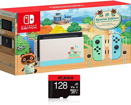 "Nintendo Switch with Green and Blue Joy-Con - Animal Crossing: New Horizons Edition - 6.2"" Touchscreen LCD Display, 802.11AC WiFi, Bluetooth 4.1 + NexiGo 128GB MicroSD Card Holiday Bundle"