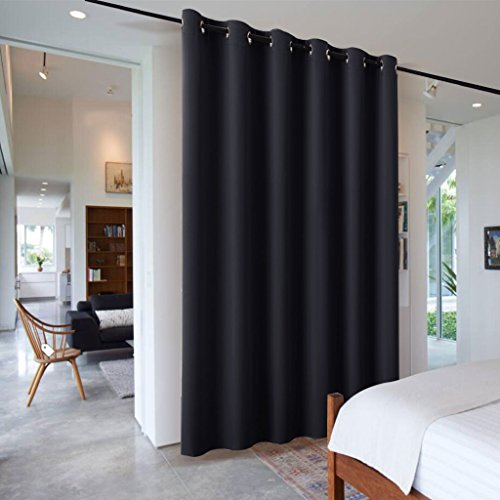 Frame Black Panel - 9 ft Tall Room Freestanding Divider - RYB HOME Furniture Protecting Ceiling to Floor Blackout Space Partition Curtain for Pation Sliding Door / Locker Room, 10 ft Wide x 9 ft Tall, Black , 1 Pcs