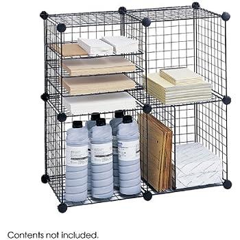 Amazon.com: Safco Products 5279BL Wire Storage Cube Set, Black ...