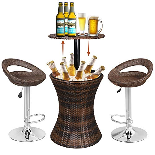 Super Deal 3in1 Outdoor Rattan Wicker Bar Table Included Cooler + 2 Hydraulic Pub Barstool All in One, Rattan Style Adjustable Height Patio Party Deck Pool Use, Brown (Combo Set) ()