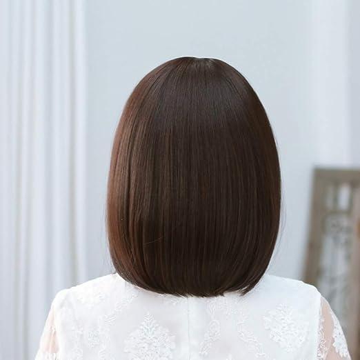 WYFDSG Peluca De Pelo Corto Hembra, Cabeza De Bobo, Peinado Coreano, Cara Mullida, Pelo Recto Liso, Peluca Femenina, Conjunto Amarillento - Marrón Claro: ...